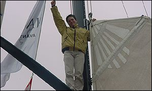 Ellen climbs to the top of her mast