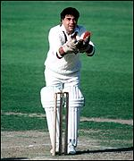 Farokh Engineer takes a throw from the boundary