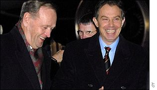Canadian and UK Prime Ministers Jean Chretien and Tony Blair