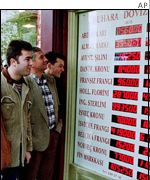 Foreign exchange board in Istanbul