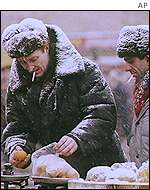 Russian fruit market in winter