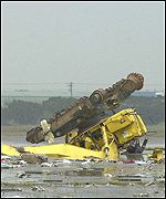 Machinery hit by the plane