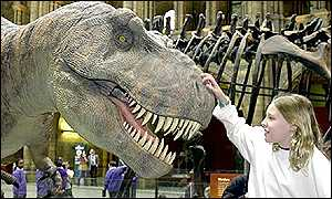 Robotic T. rex at the Natural History Museum, London PA