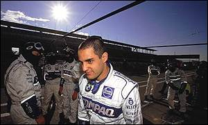 Juan Pablo Montoya with his Williams team