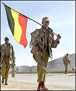 Ethiopian soldiers with flag