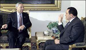 Colin Powell and Egyptian President Hosi Mubarak
