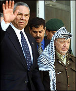 Yasser Arafat and Colin Powell leave after talks in Ramallah