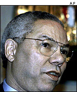 Colin Powell speaks to reporters in Egypt