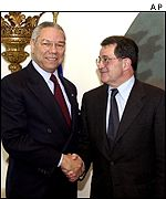 Colin Powell and Romano Prodi