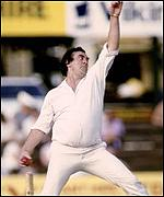 Fred Trueman in action for Yorkshire