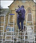 Media outside Dornoch Cathedral