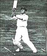 Bradman batting against England in 1934