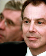 Home Secretary Jack Straw and Prime Minister Tony Blair