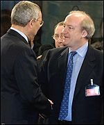 French Foreign Minister Hubert Vedrine meets Colin Powell
