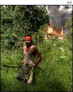 Dayak with parang leaves burning building