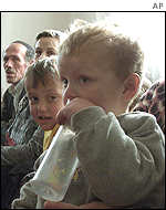 Refugees from Tanusevci in Kosovo