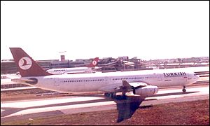 Turkish Airlines plane on runway