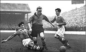 Wolves captain Bily Wright in a game against Charlton at The Valley in 1953
