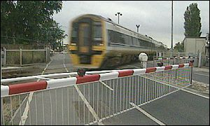 Train passing through level crossing