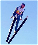 Eddie the Eagle Edwards at the Calgary Olympics