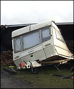 Caravan crushed by train