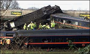 Train wreckage following crash
