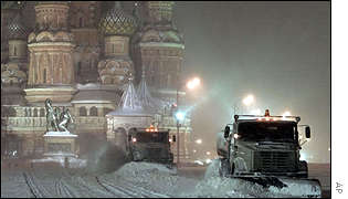 Snow ploughs working overtime in Red Square
