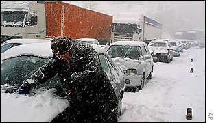 Snow storms in the Italian region of Liguria caused traffic jams along all the highways leading to Genoa