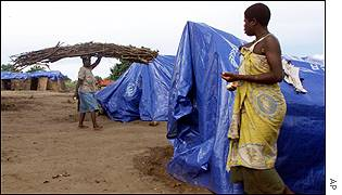 A makeshift camp houses flood victims in Caia