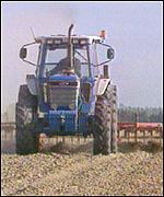 Tractor on farmland BBC