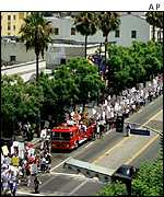 Actors marching down Hollywood Boulevard during the last actors' strike