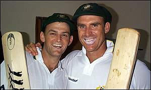 Adam Gilchrist and Matthew Hayden celebrate in Mumbai