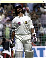 Sachin Tendulkar looks to the heavens after his unlucky dismissal