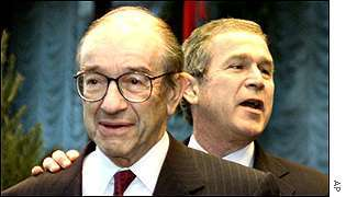 Alan Greenspan and George Bush.