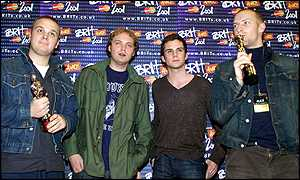 Rock band Coldplay to the 2001 Brit Awards