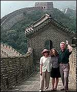 President Clinton and family on the Great Wall