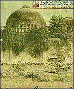 [ image: Painting of the original Babri mosque]
