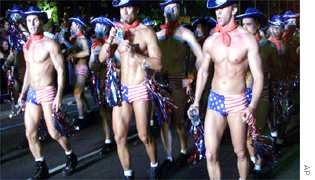 Marching boys at Sydney Mardi Gras