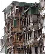 A wrecked building following the IRA's 1996 bomb
