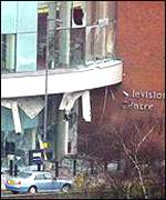 Bomb damage at Television Centre
