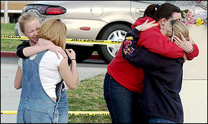 Students from Santana High School, California hug each other