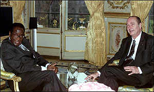 Robert Mugabe and Jacques Chirac