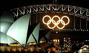 Olympic lights in Sydney harbour