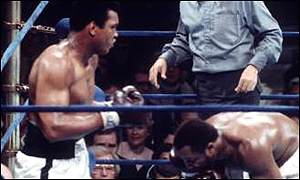 Muhammad Ali in one of his three bouts against Joe Frazier