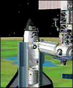 Simulation of Discovery docking