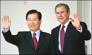 Presidents Kim Dae-jung and George W Bush