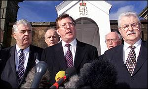 David Trimble pictured with his team before talks