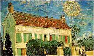 The white house at night by Vincent Van Gogh