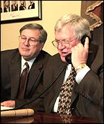 Republican leaders Bill Thomas and  J. Dennis Hastert