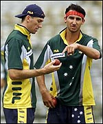 Australian fast bowlers Glenn McGrath and Jason Gillespie